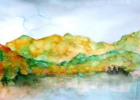 Autumn leaves and lake