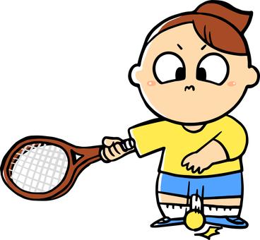 테니스를 치려고하는 여성