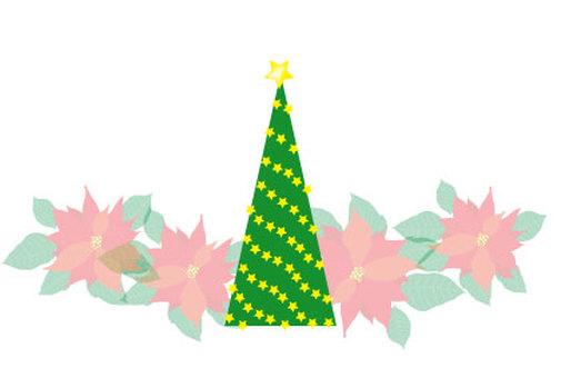 Christmas tree and poinsettia