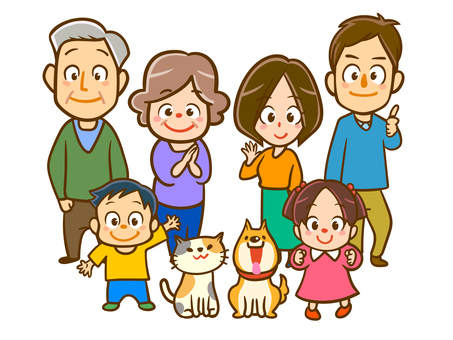 Family of 3 generations and pets Family of 6