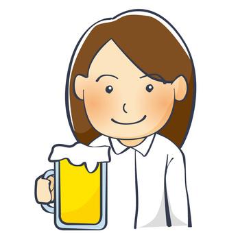 맥주를 마시는 직장인 여성