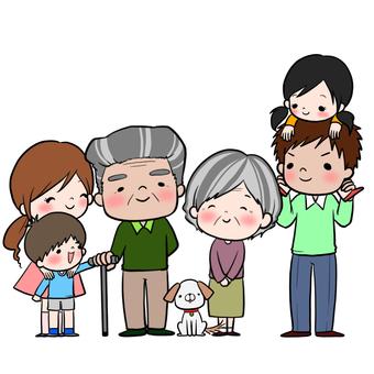Elderly couple and family set