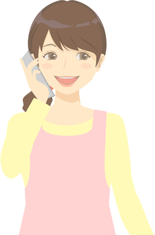 Nursery woman · smartphone / phone