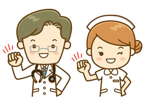 Doctors and nurses doing guts posing