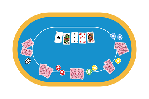 Top view of poker table