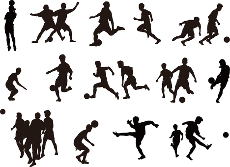 Football silhouette set