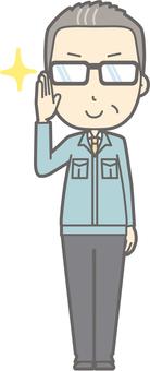 Middle-aged man work clothes - Eyeglass Kirari 2 - whole body