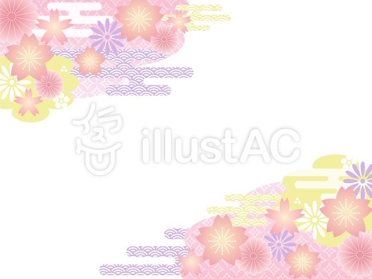 和柄桜フレームのイラスト