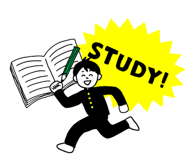 Male student who works hard to study (simple)