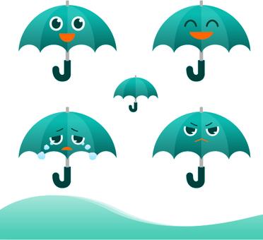 雨の日の傘の可愛い表情セット
