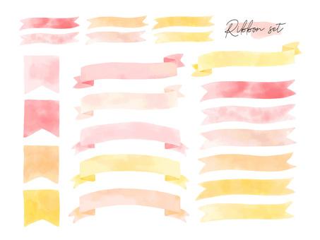 Watercolor ribbon illustration set