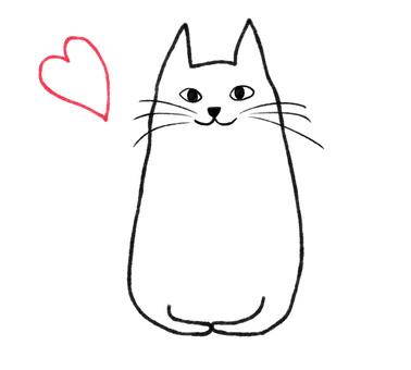 흰색 고양이와 하트