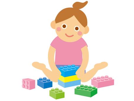 Girls _ block play