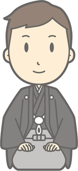 Groom Japanese clothes - seat sitting - whole body