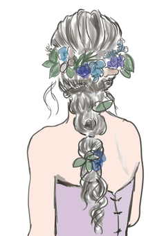 Bridal hair arrangement
