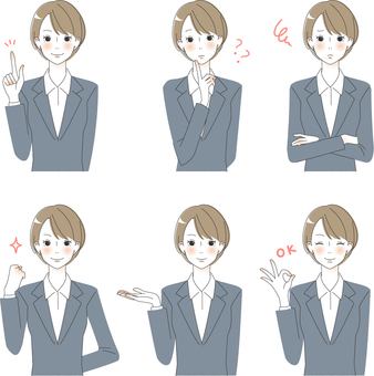 Adult women's facial expression in various suit sets