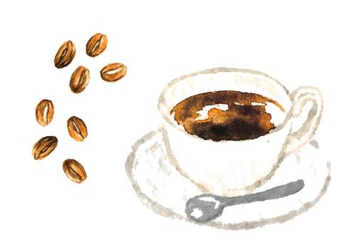 《水彩風》コーヒー豆とコーヒー