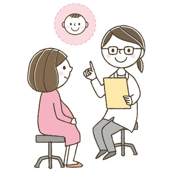 Cute woman and doctor / pregnancy undergoing prenatal checkup