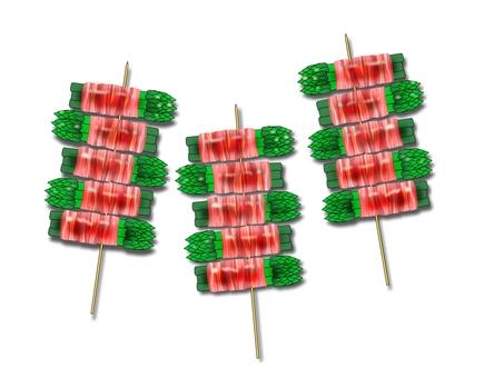 Asparagus bacon winding skewers multiple