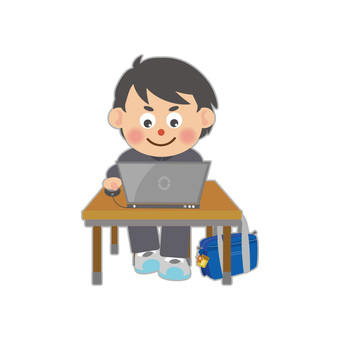 Male student using computer