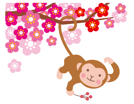 Monkey hanging from a plum tree