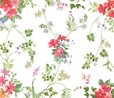 赤い花パターン