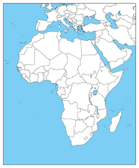 Africa Region-Blank Map-With Borders-Sea