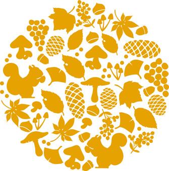 Fall silhouette circular motif