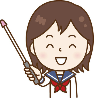 A woman in a sailor suit taught with a pointing stick White