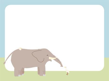 Elephant and bird frame
