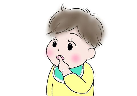 Finger sucking baby illustration