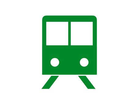 Train icon silhouette green