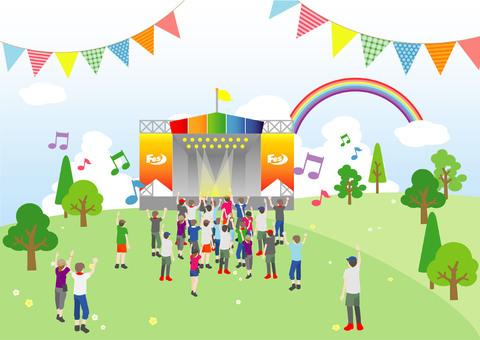 Grassland holding an outdoor festival