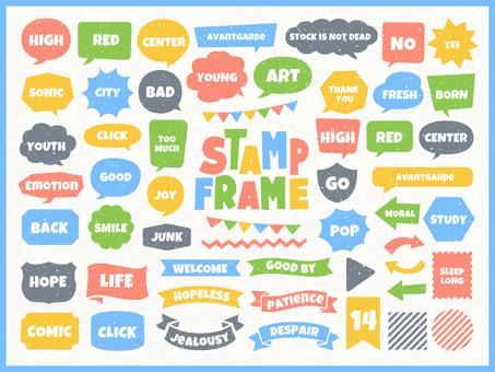 Stamp-like balloon frame ribbon