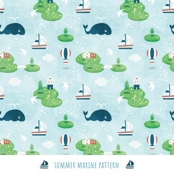 Summer background pattern 004 sea island watercolor