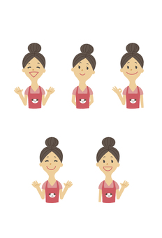 Nursery apron Women dumpling hair pose set 1