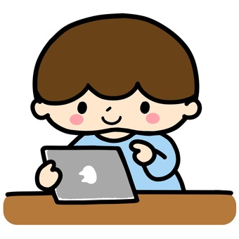 Illustration of a boy using a tablet ②