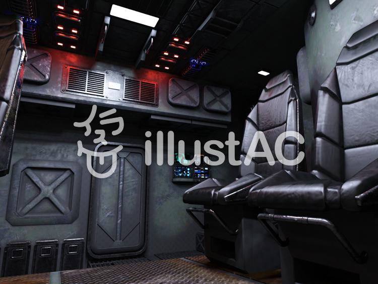SF系乗り物内のコクピットの後部座席のイラスト