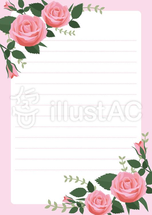 薔薇バラの便せん2イラスト No 1158815無料イラストなら