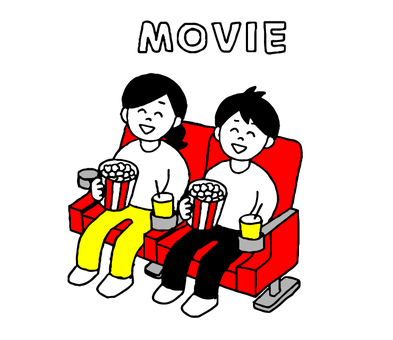 Man and woman watching movies (simple)