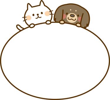 白色的貓和臘腸狗裝飾框架