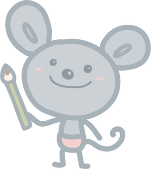 Mouse with a brush