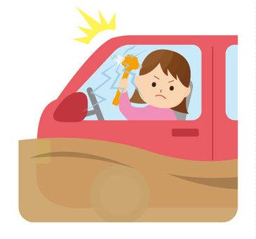Break through car window and escape