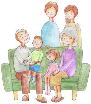 Families sitting on the sofa (grandparents descendants)