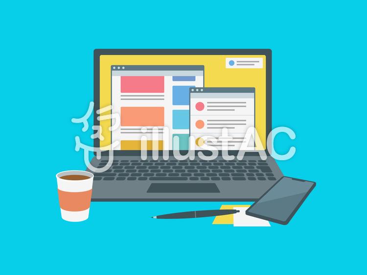 ノートパソコン インターネット 画面のイラスト