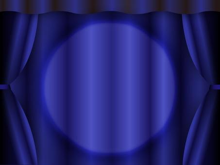 Spotlight on stage navy curtain