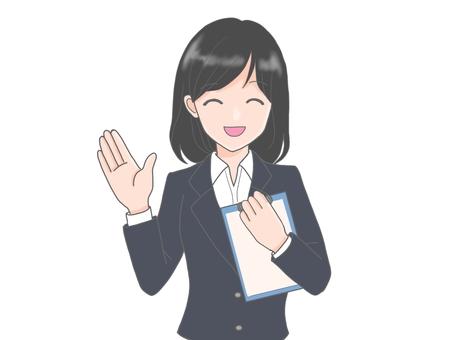 안내 정장 여성 / 미소