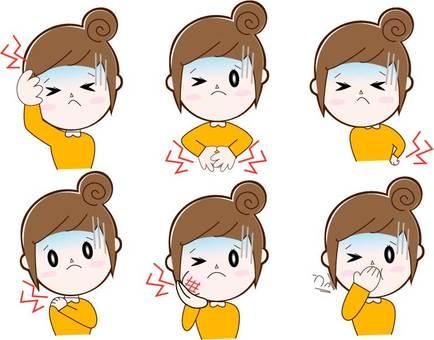 Upset (various), female (bun head), upper body