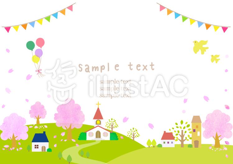 街並み 17 桜と森とチャペルイラスト No 1355915無料イラストなら