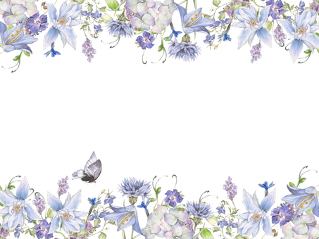 Flower frame 198 - cool blue and cool colored butterfly